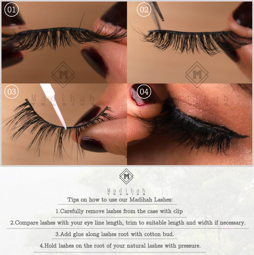 the tips to teach you how to apply our Madihah horse tail eyelashes.