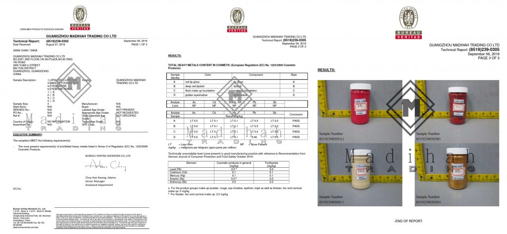 Cosmetics Raw Material Microorganism Test Report