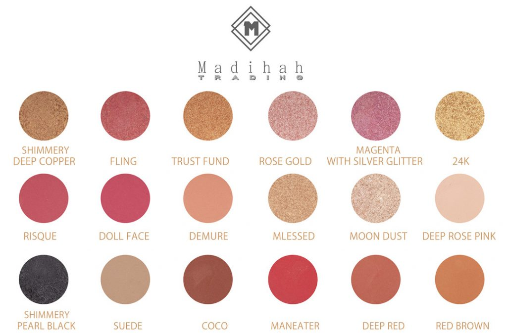Madihah 18 colors makeup eyeshadow palettes swatches 01