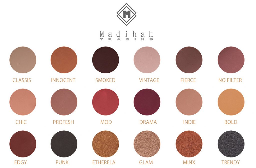 Madihah 18 colors makeup eyeshadow palettes swatches 03