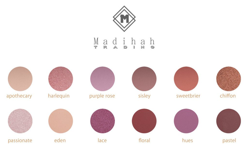 Madihah 12 colors makeup eyeshadow palettes swatches