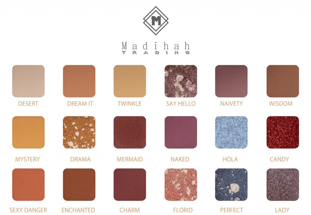 Madihah 18 colors makeup eyeshadow palettes swatches 04