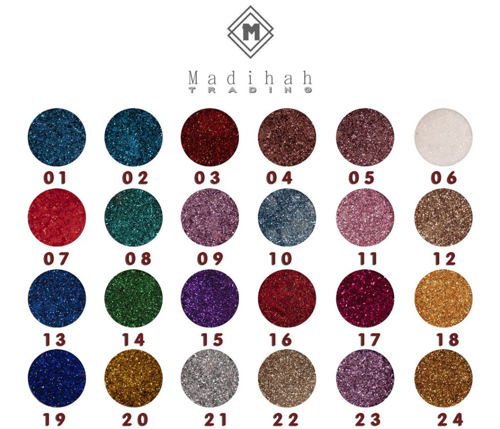 Madihah 24 colors glitter makeup eyeshadow swatches