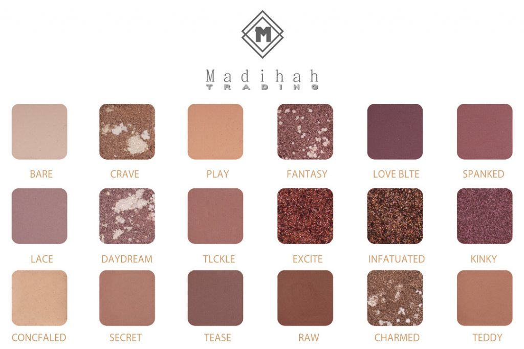 Madihah 18 colors makeup eyeshadow palettes swatches 05