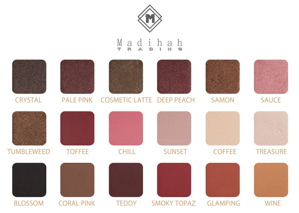 Madihah 18 colors makeup eyeshadow palettes swatches 07