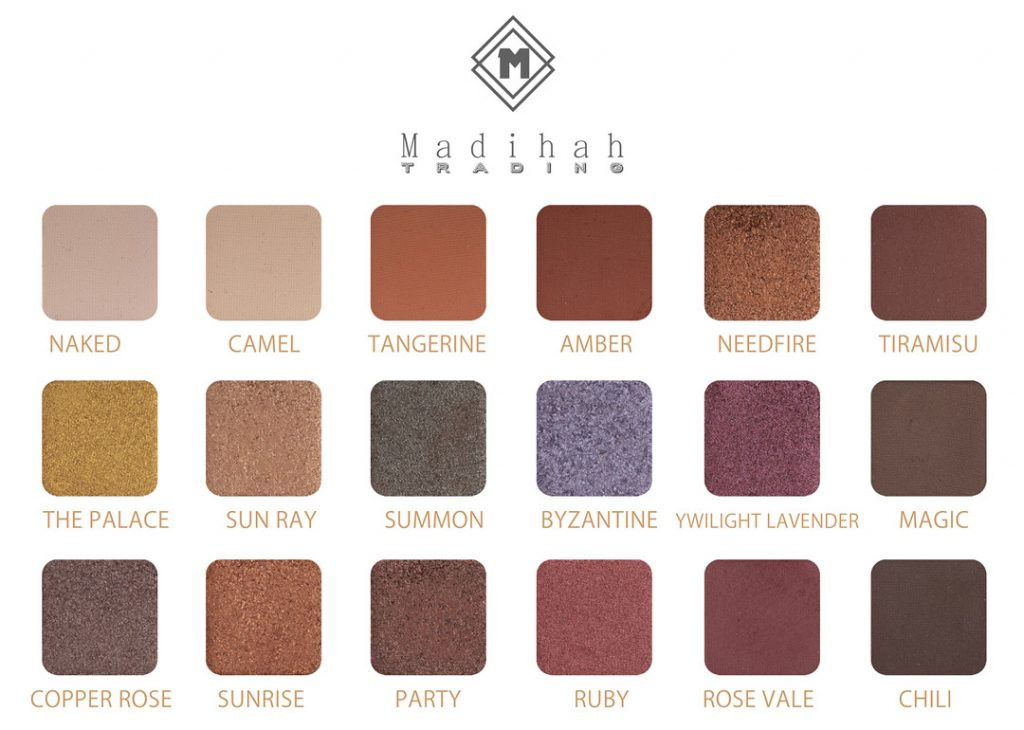 Madihah 18 colors makeup eyeshadow palettes swatches 08