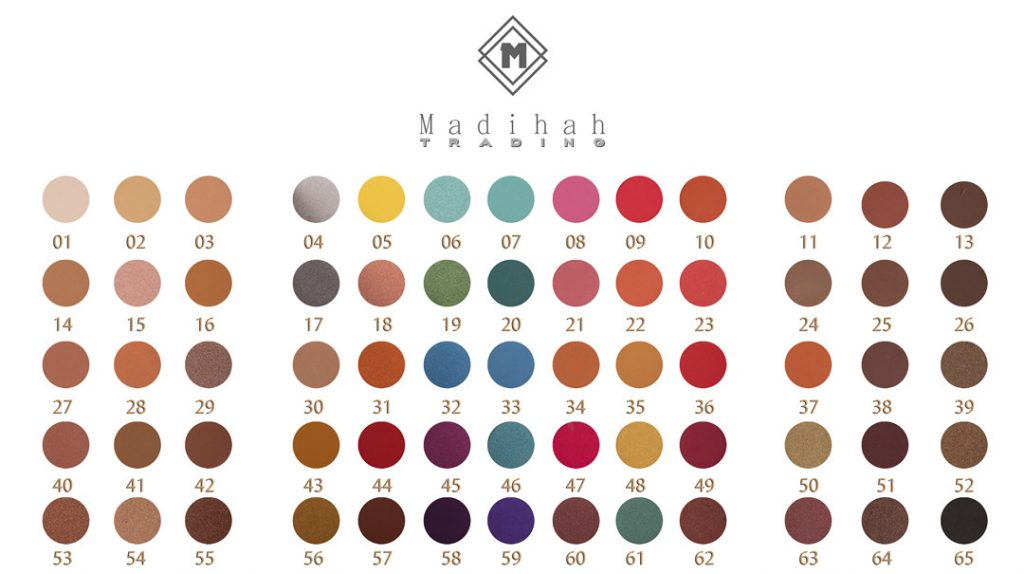 Madihah 65 colors makeup palettes swatches