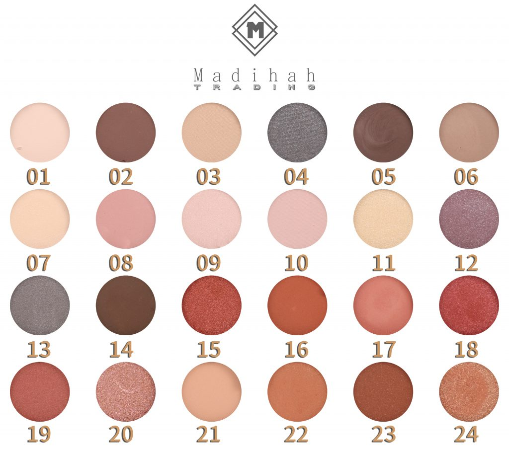 Madihah 24 colors makeup eyeshadow palettes swatches