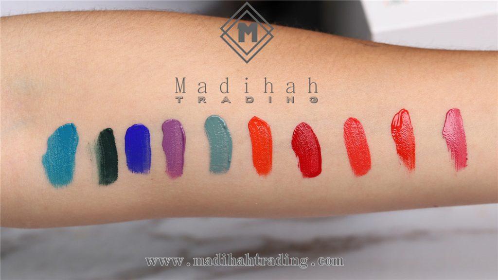 Madihah long lasting matte lip gloss 5 swatches
