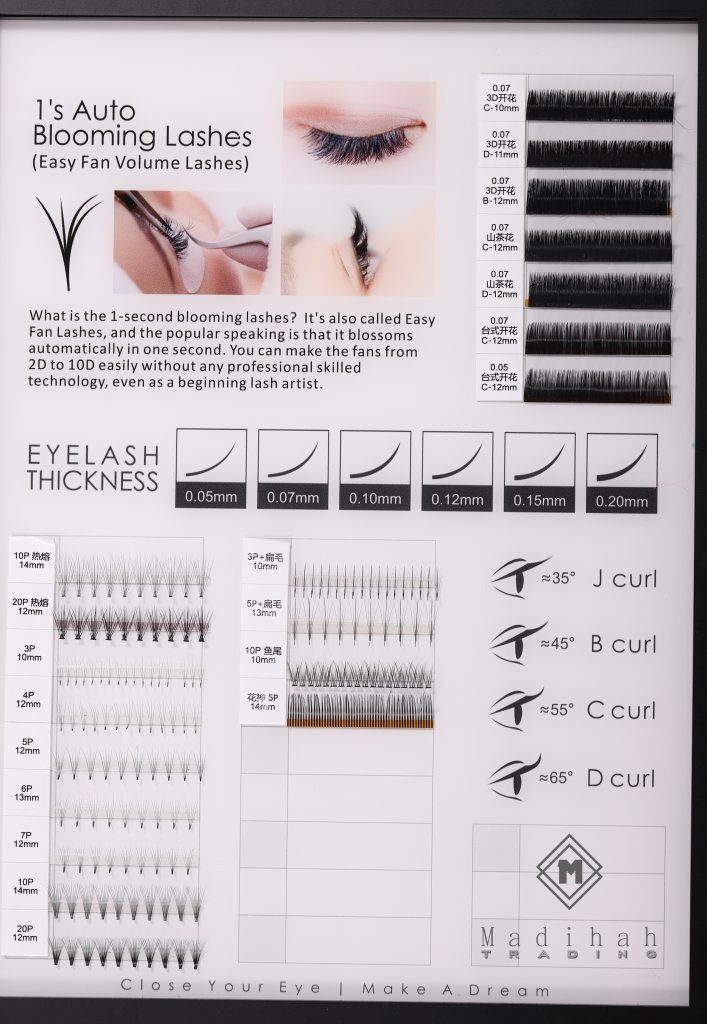 Madihah Customized Eyelash Extensions Styles And Colors Charts 1