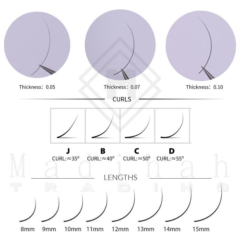 Madihah Classic Single Round Hair Eyelashesindividual eyelash extesions charts