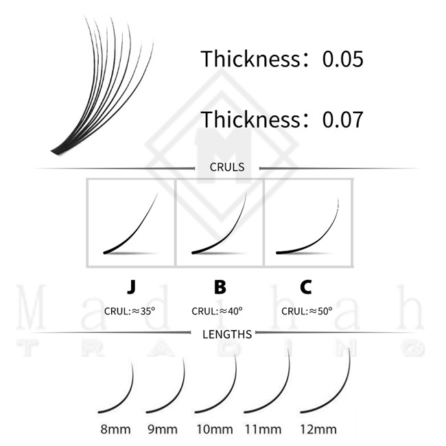Madihah Easy Fan VV Shape Eyelashes Extensions Charts