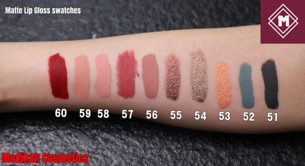 Matte Lip Gloss Swatches